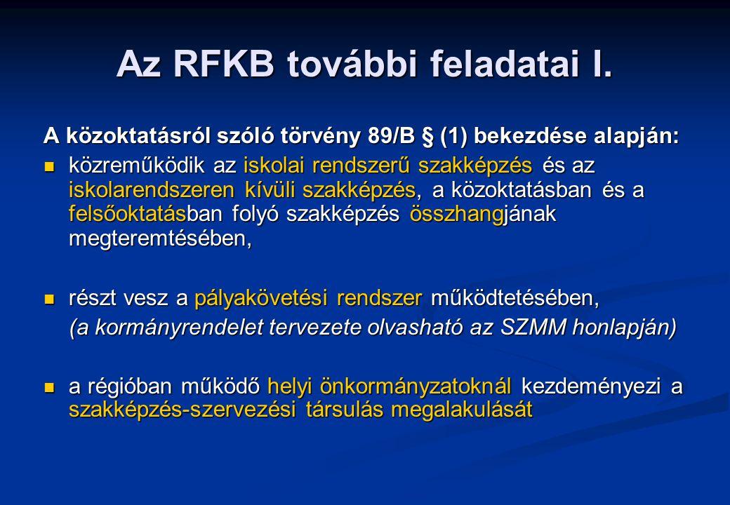 Az RFKB további feladatai I.