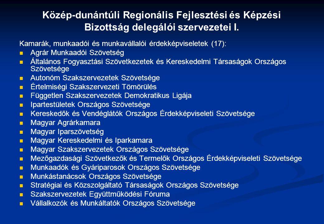 Közép-dunántúli Regionális Fejlesztési és Képzési Bizottság delegálói szervezetei I.
