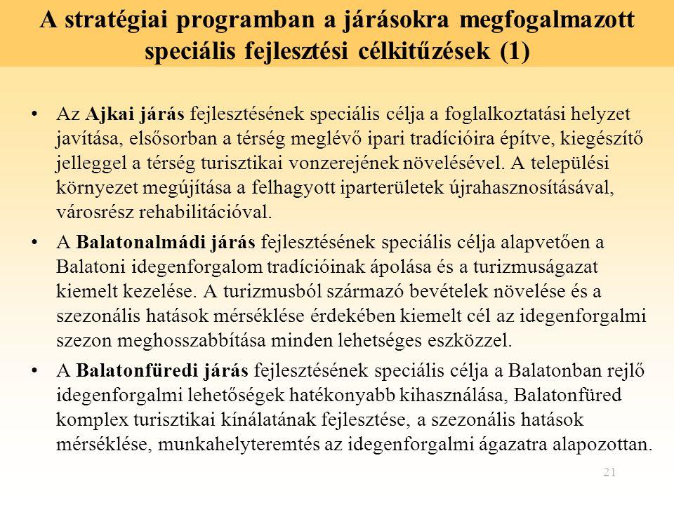 A stratégiai programban a járásokra megfogalmazott speciális fejlesztési célkitűzések (1)