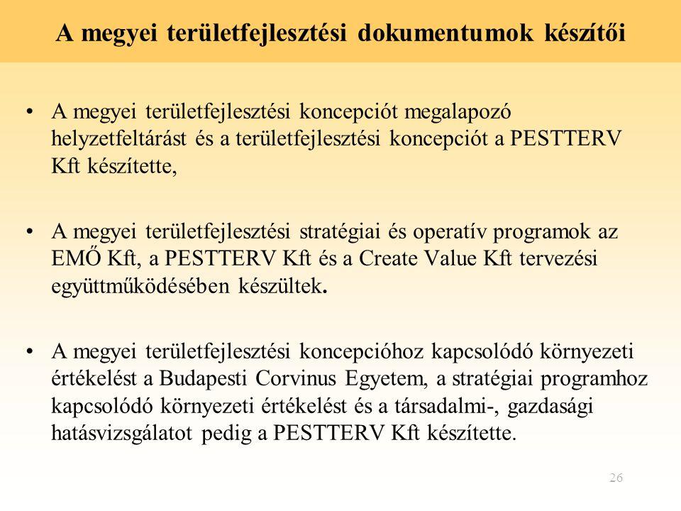 A megyei területfejlesztési dokumentumok készítői