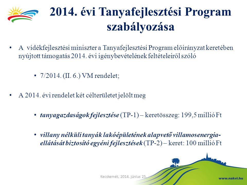 2014. évi Tanyafejlesztési Program szabályozása