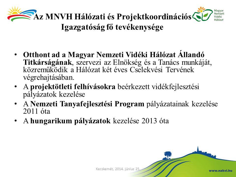 Az MNVH Hálózati és Projektkoordinációs Igazgatóság fő tevékenysége