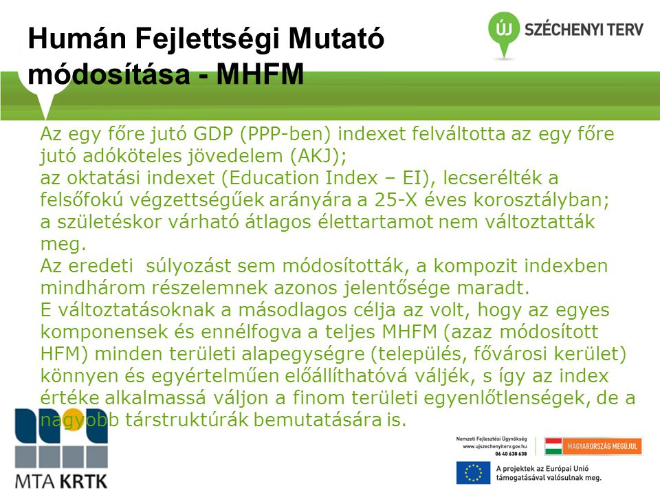 Humán Fejlettségi Mutató módosítása - MHFM