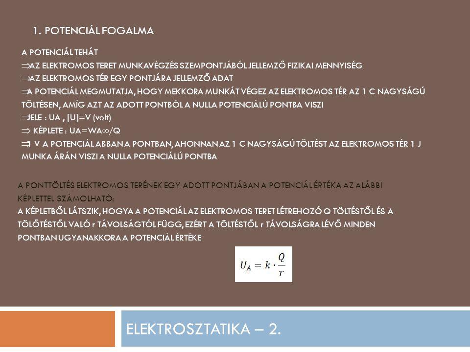 ELEKTROSZTATIKA – 2. 1. POTENCIÁL FOGALMA A POTENCIÁL TEHÁT