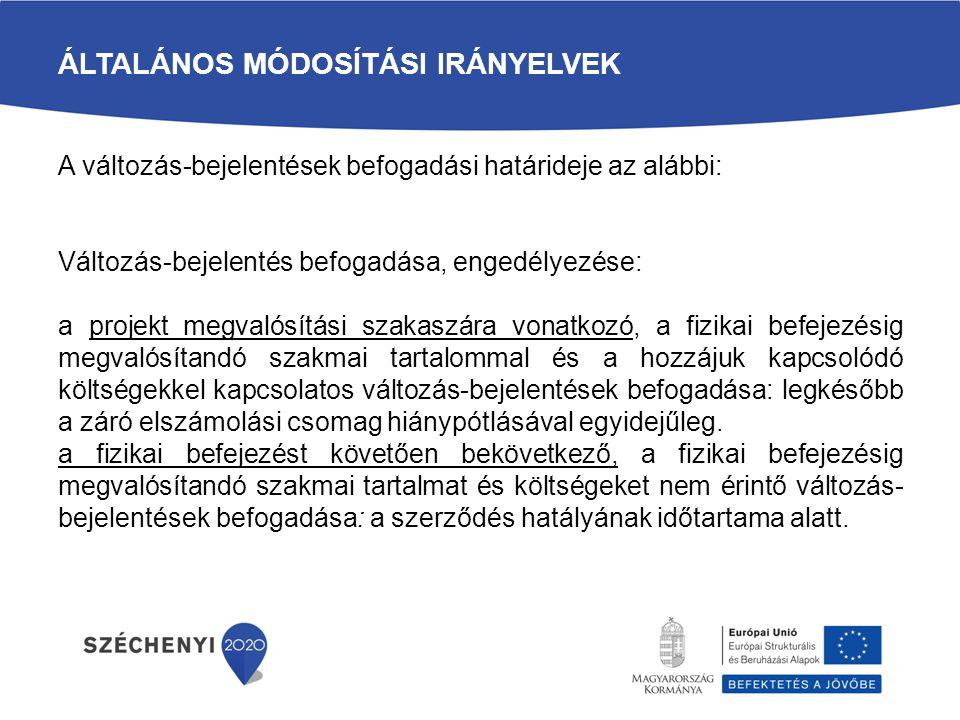 Általános módosítási irányelvek