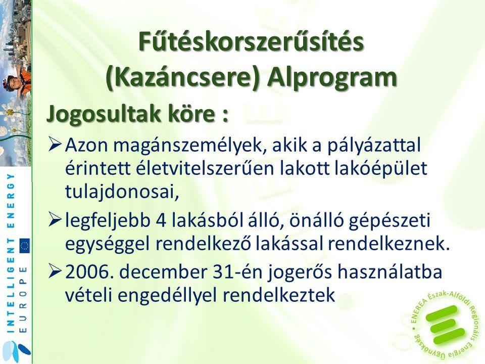 Fűtéskorszerűsítés (Kazáncsere) Alprogram