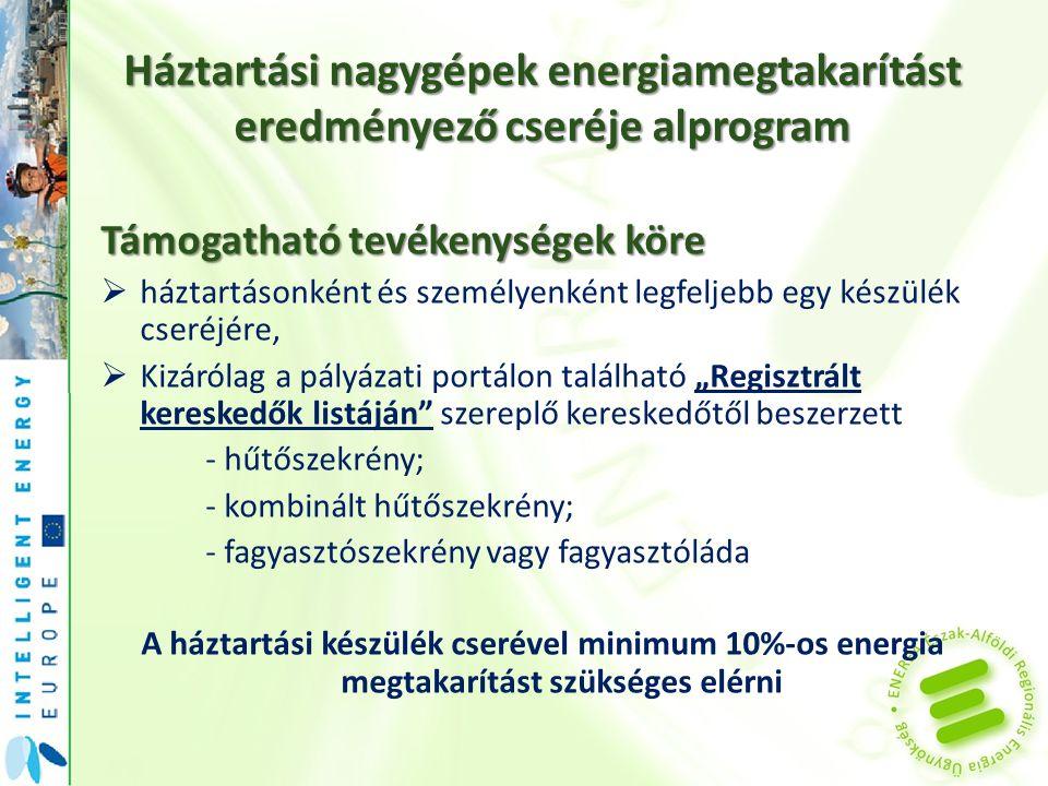 Háztartási nagygépek energiamegtakarítást eredményező cseréje alprogram
