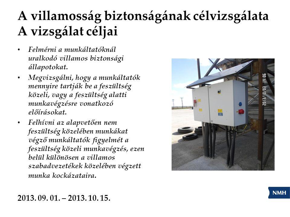 A villamosság biztonságának célvizsgálata A vizsgálat céljai