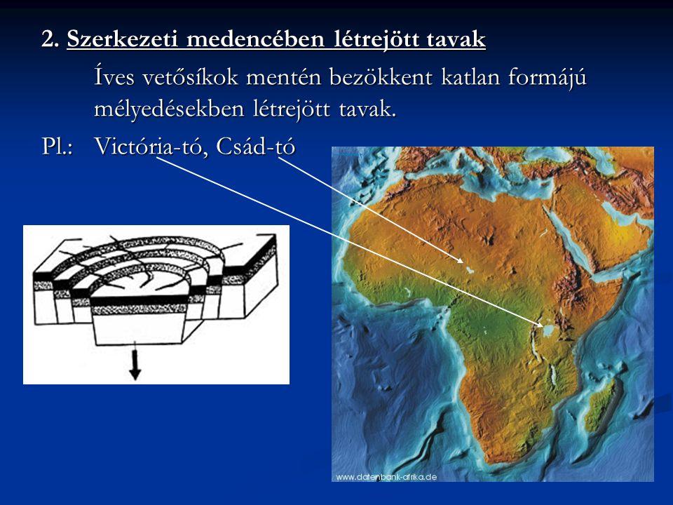 2. Szerkezeti medencében létrejött tavak