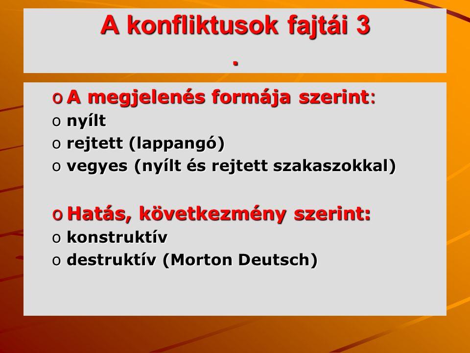 A konfliktusok fajtái 3 . A megjelenés formája szerint: