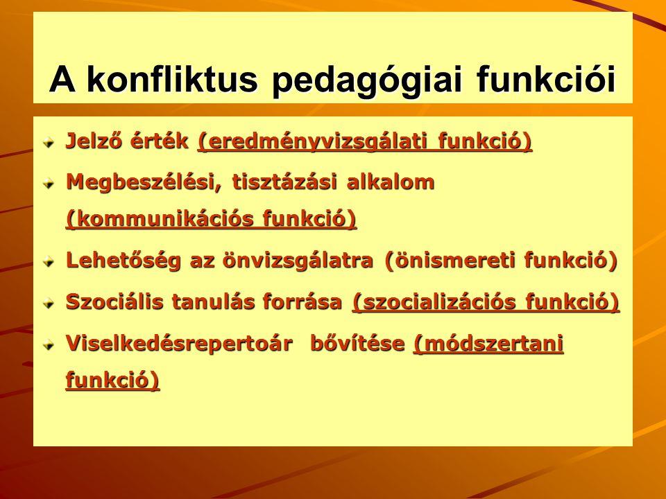 A konfliktus pedagógiai funkciói