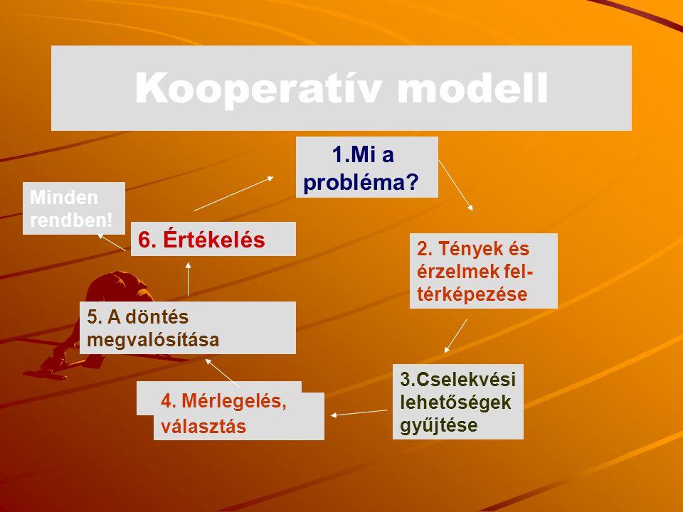 Kooperatív modell 1.Mi a probléma 6. Értékelés Minden rendben!