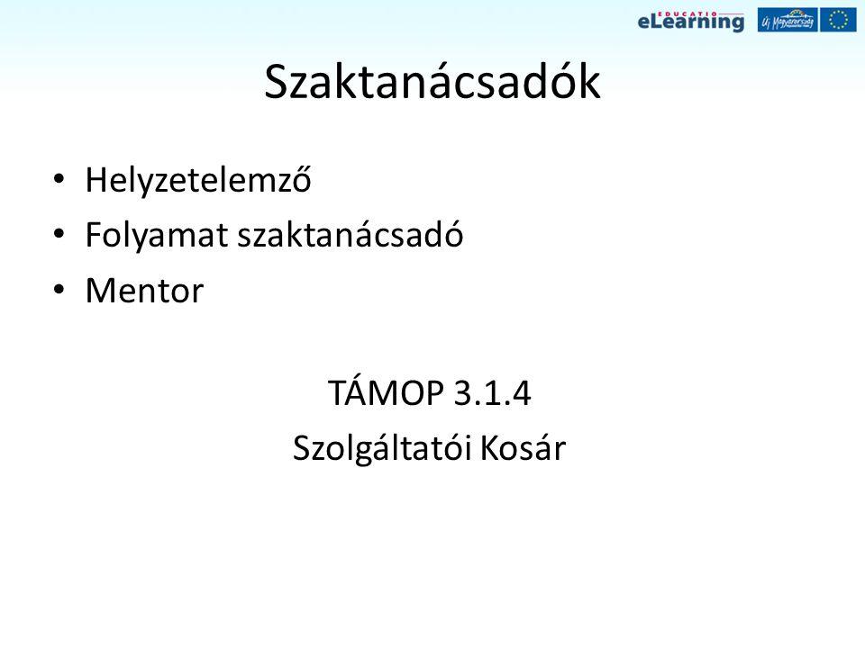 Szaktanácsadók Helyzetelemző Folyamat szaktanácsadó Mentor TÁMOP 3.1.4