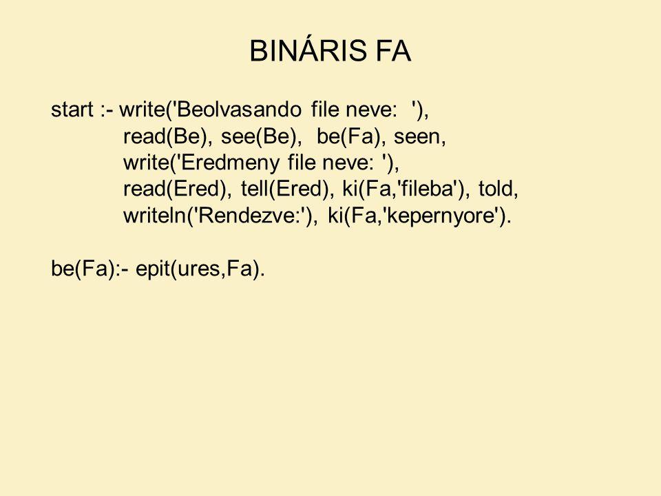 BINÁRIS FA start :- write( Beolvasando file neve: ),