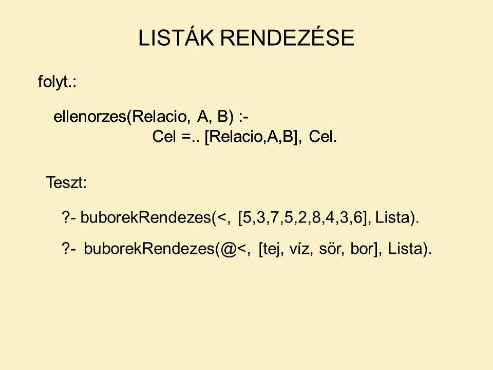 LISTÁK RENDEZÉSE folyt.: folyt.: ellenorzes(Relacio, A, B) :-