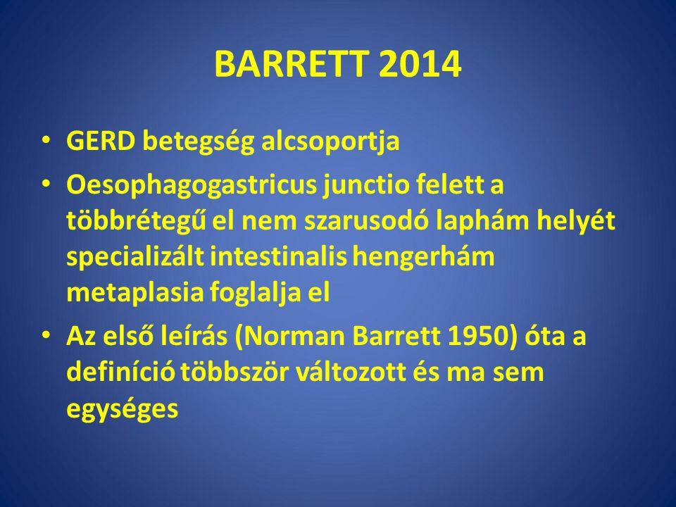BARRETT 2014 GERD betegség alcsoportja