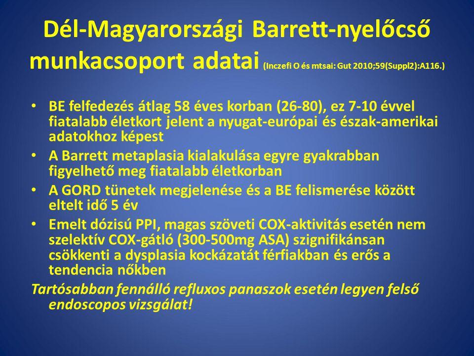 Dél-Magyarországi Barrett-nyelőcső munkacsoport adatai (Inczefi O és mtsai: Gut 2010;59(Suppl2):A116.)