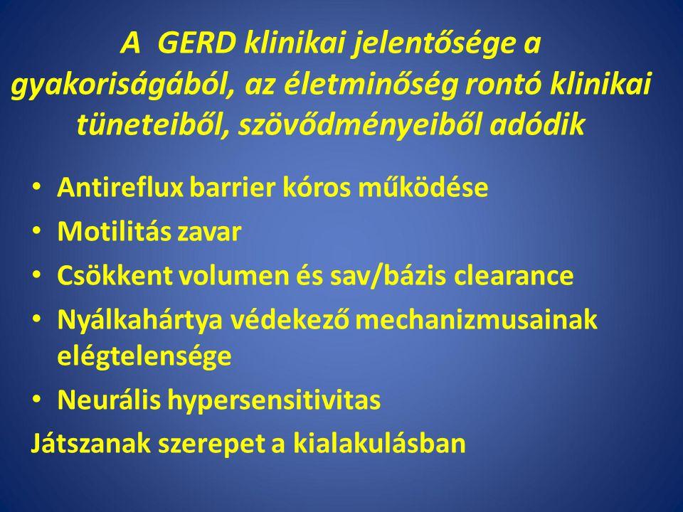 A GERD klinikai jelentősége a gyakoriságából, az életminőség rontó klinikai tüneteiből, szövődményeiből adódik