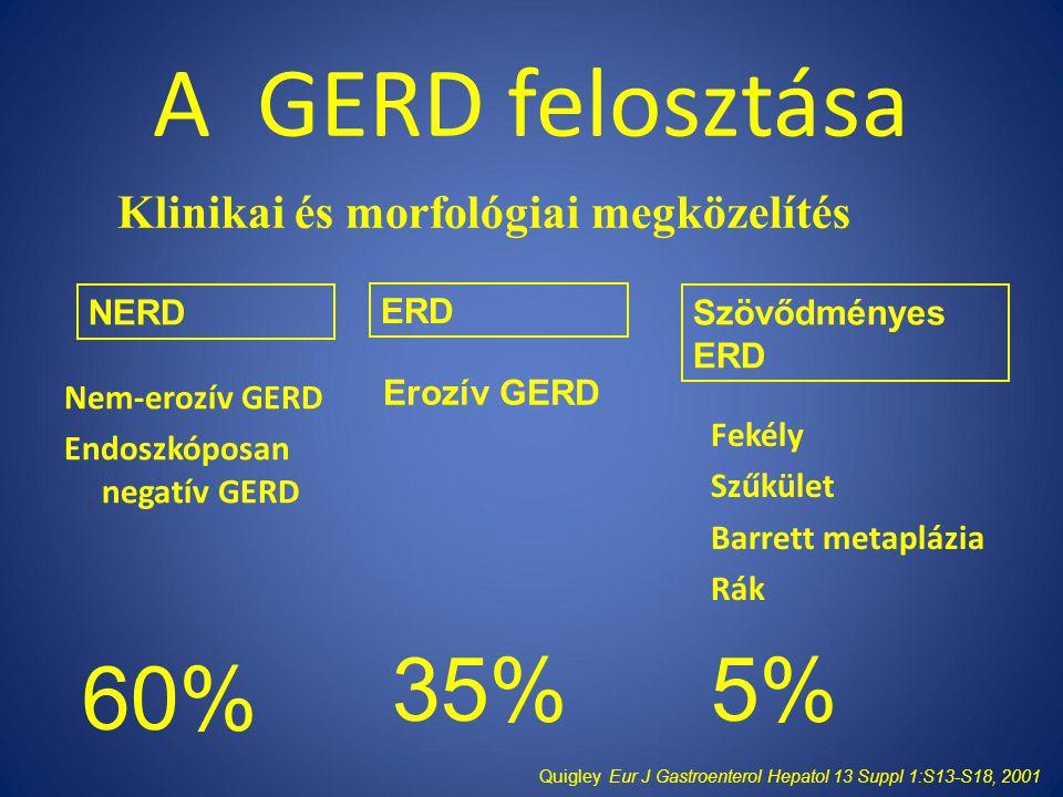 A GERD felosztása 35% 5% 60% Klinikai és morfológiai megközelítés NERD