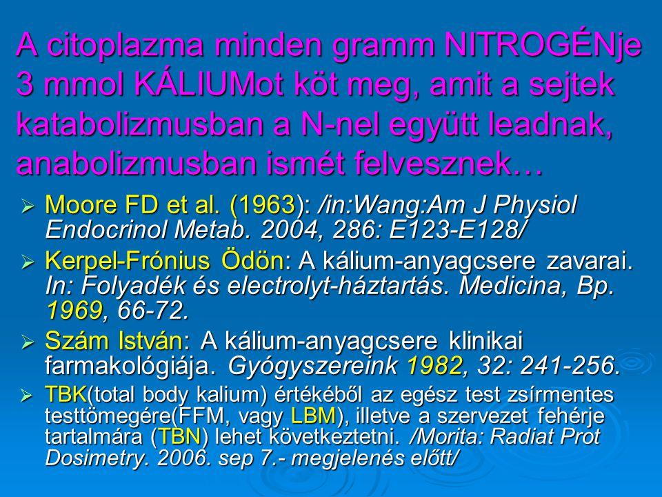 A citoplazma minden gramm NITROGÉNje 3 mmol KÁLIUMot köt meg, amit a sejtek katabolizmusban a N-nel együtt leadnak, anabolizmusban ismét felvesznek…