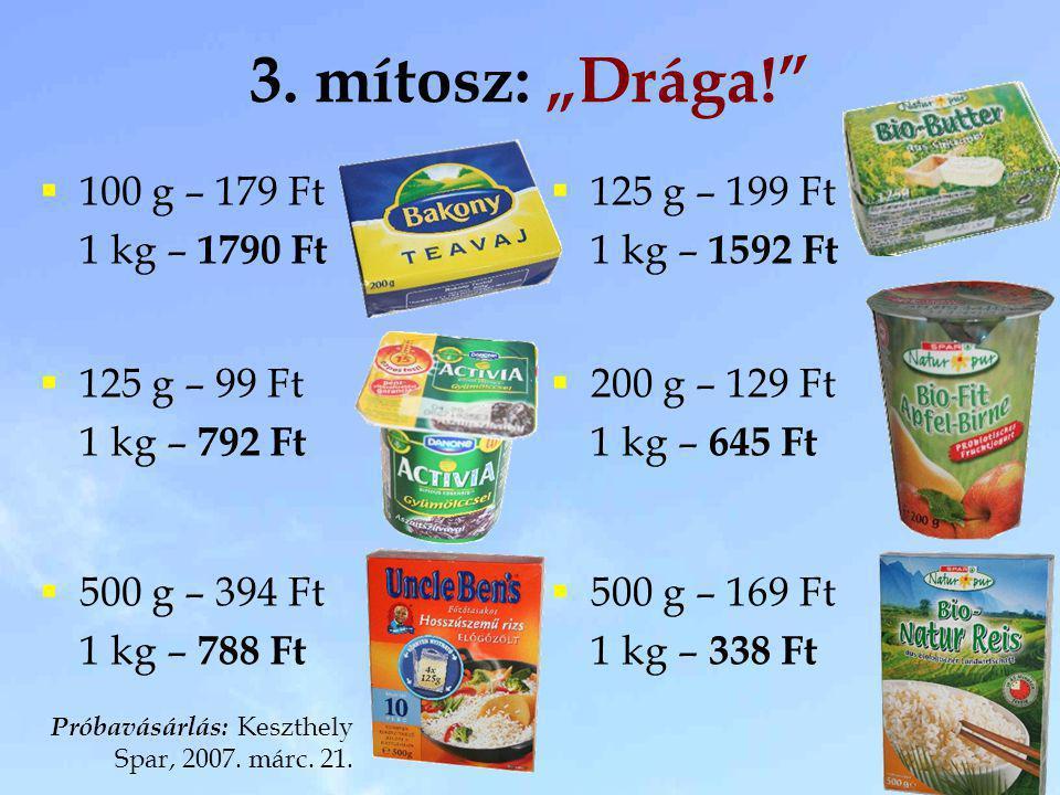 """3. mítosz: """"Drága! 100 g – 179 Ft 1 kg – 1790 Ft 125 g – 199 Ft"""