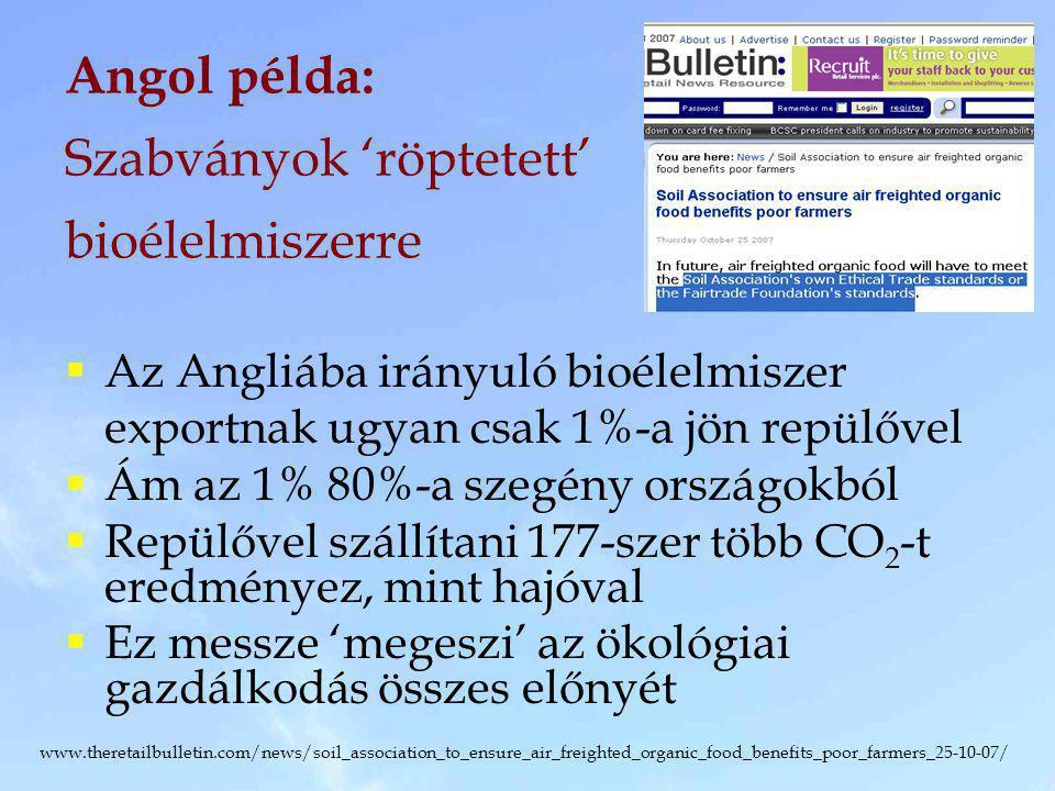 Angol példa: Szabványok 'röptetett' bioélelmiszerre