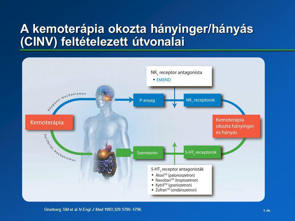 A kemoterápia okozta hányinger/hányás (CINV) feltételezett útvonalai