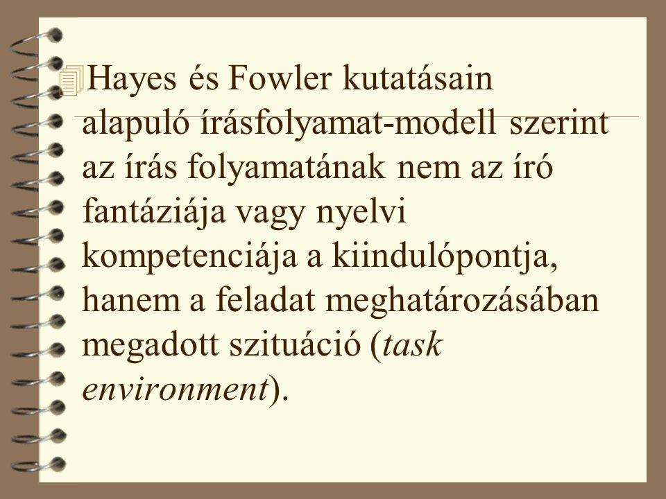 Hayes és Fowler kutatásain alapuló írásfolyamat-modell szerint az írás folyamatának nem az író fantáziája vagy nyelvi kompetenciája a kiindulópontja, hanem a feladat meghatározásában megadott szituáció (task environment).