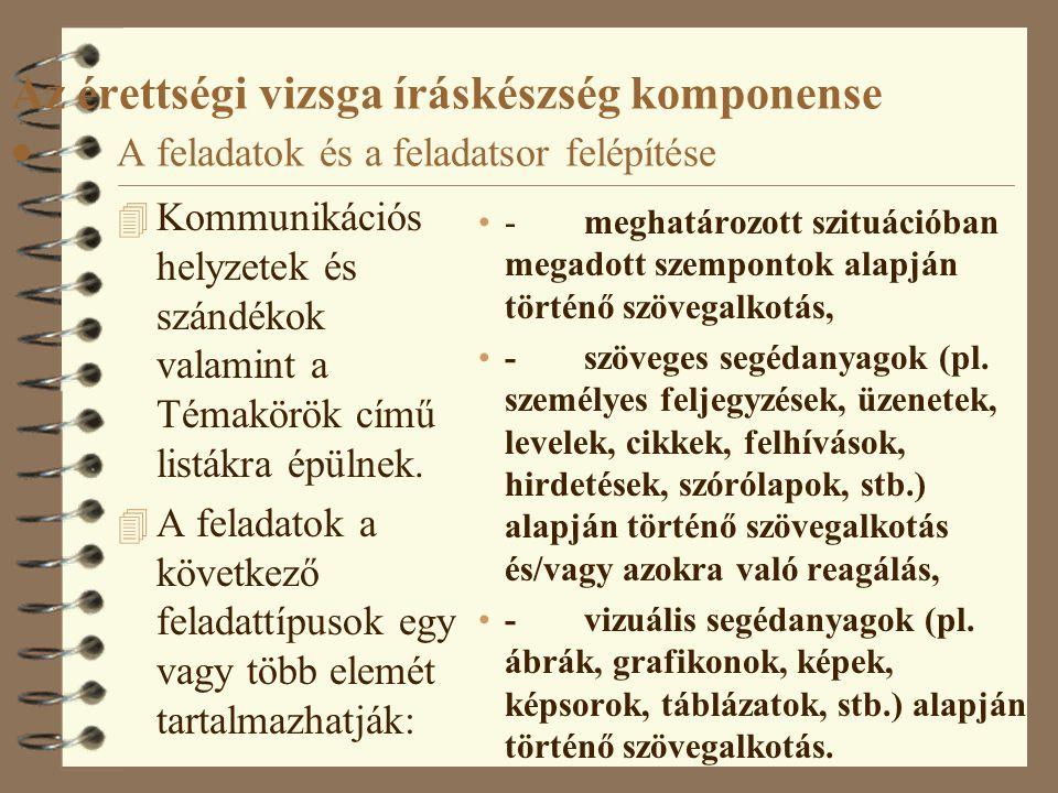 Az érettségi vizsga íráskészség komponense ·