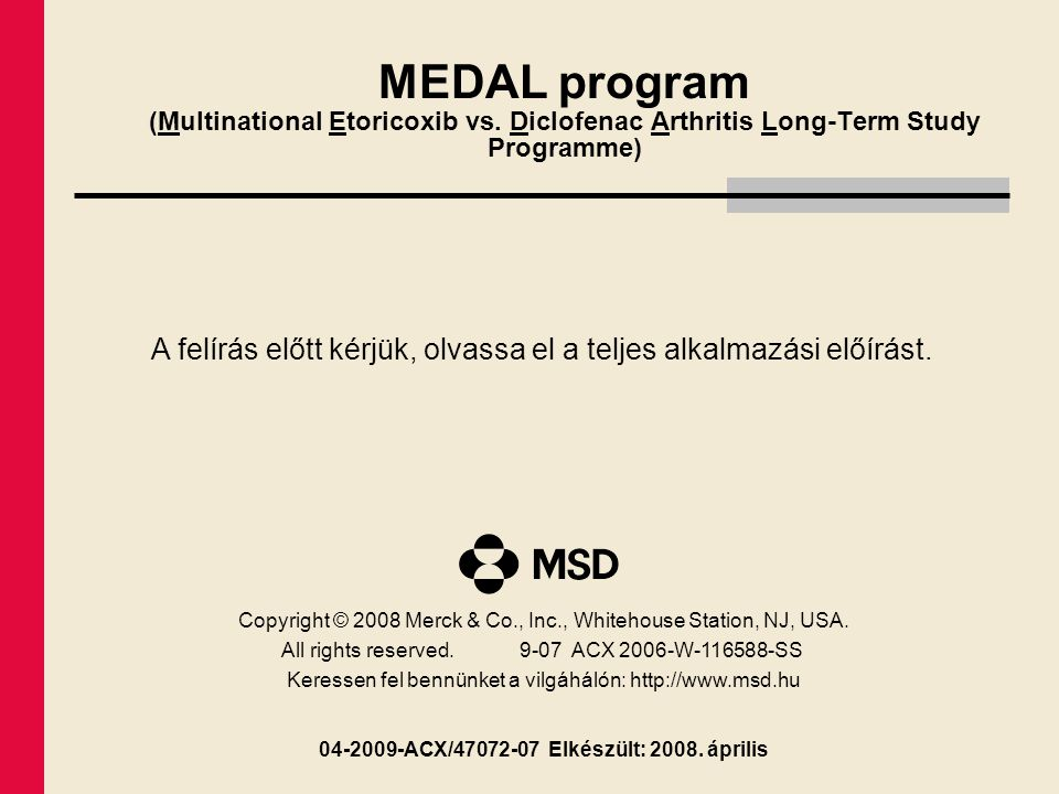 MEDAL program (Multinational Etoricoxib vs