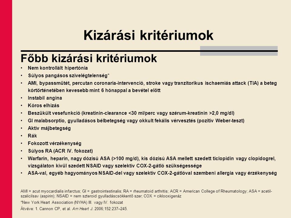 Kizárási kritériumok Főbb kizárási kritériumok