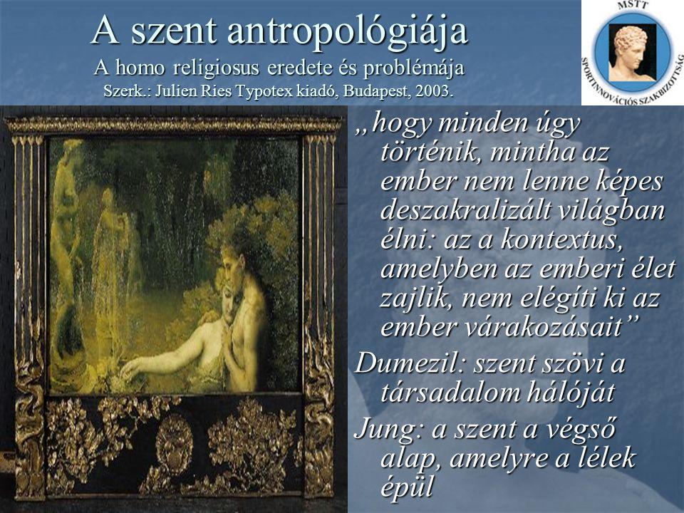 A szent antropológiája A homo religiosus eredete és problémája Szerk