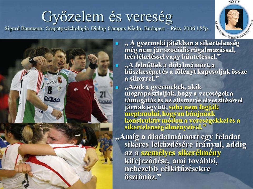 Győzelem és vereség Sigurd Baumann: Csapatpszichológia Dialóg Campus Kiadó, Budapest – Pécs, 2006 155p.