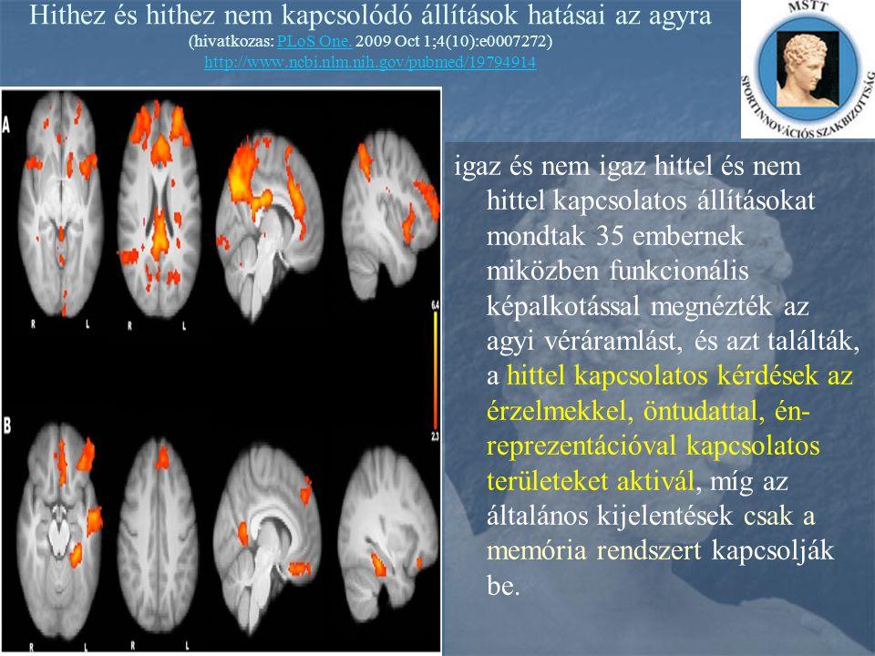 Hithez és hithez nem kapcsolódó állítások hatásai az agyra (hivatkozas: PLoS One. 2009 Oct 1;4(10):e0007272) http://www.ncbi.nlm.nih.gov/pubmed/19794914