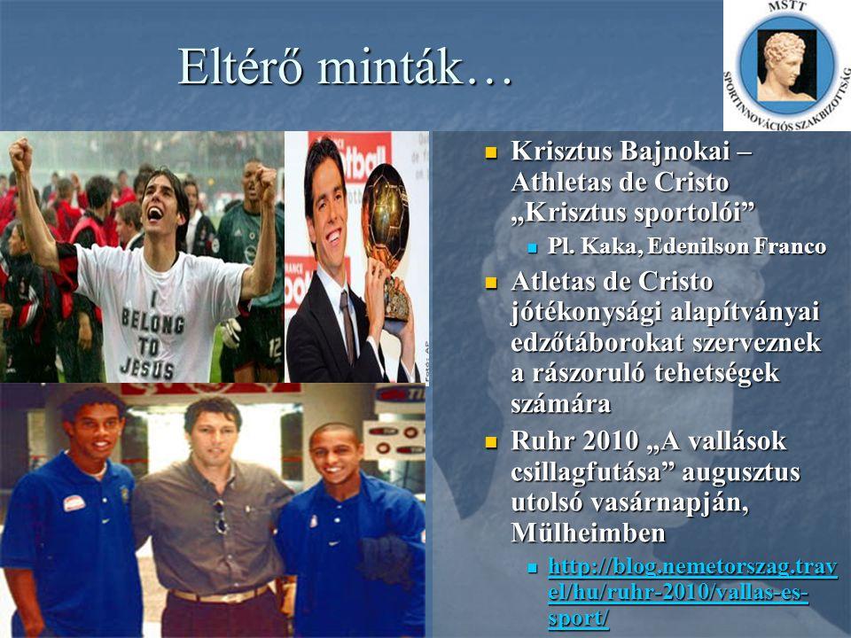 "Eltérő minták… Krisztus Bajnokai – Athletas de Cristo ""Krisztus sportolói Pl. Kaka, Edenilson Franco."
