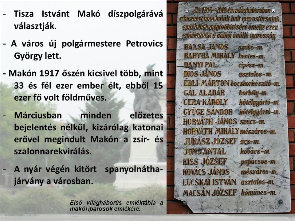- Tisza Istvánt Makó díszpolgárává választják.