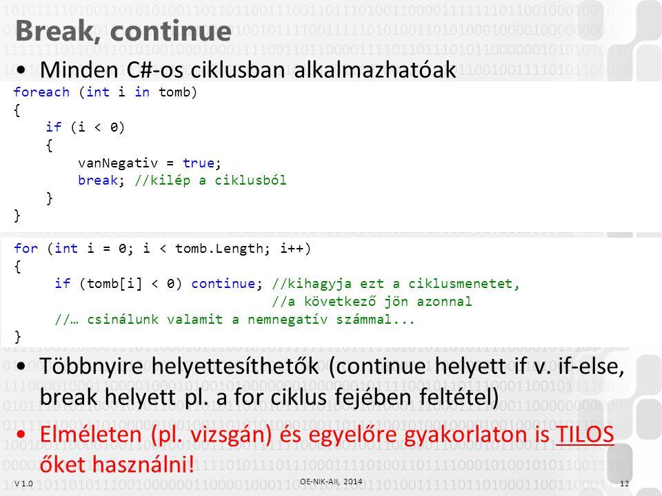 Break, continue Minden C#-os ciklusban alkalmazhatóak