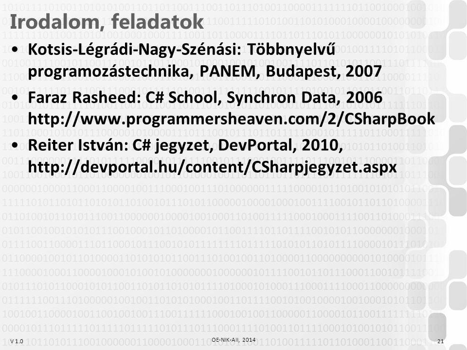 Irodalom, feladatok Kotsis-Légrádi-Nagy-Szénási: Többnyelvű programozástechnika, PANEM, Budapest, 2007.