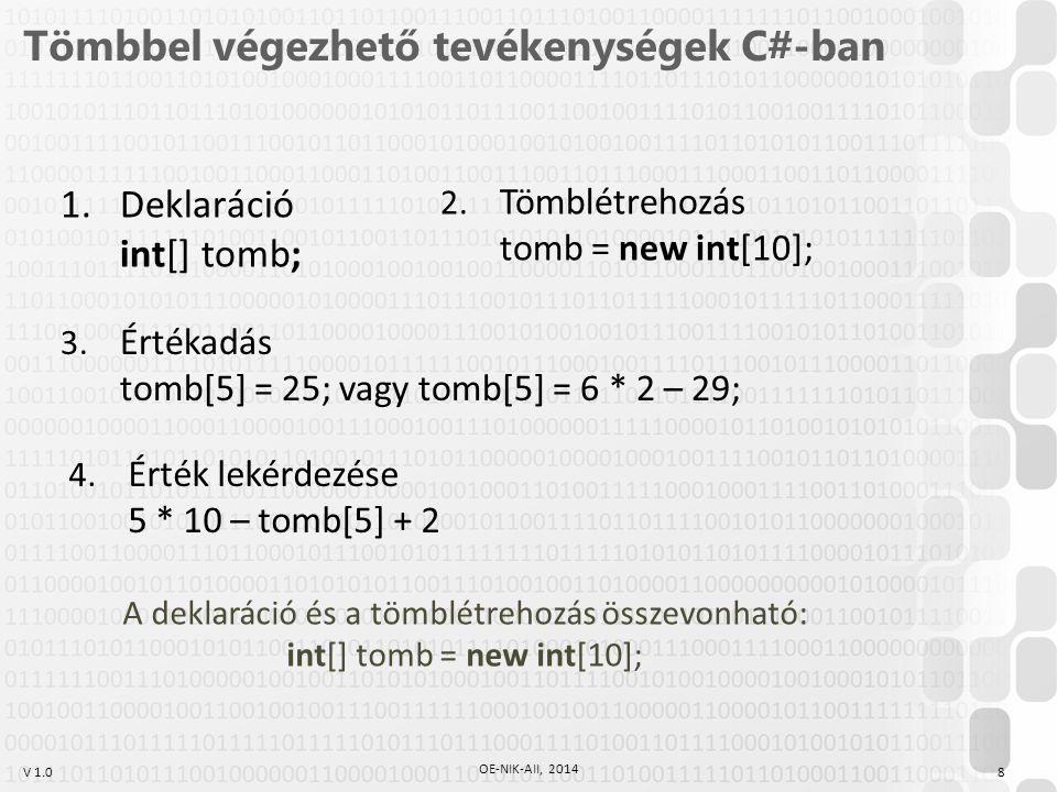 Tömbbel végezhető tevékenységek C#-ban