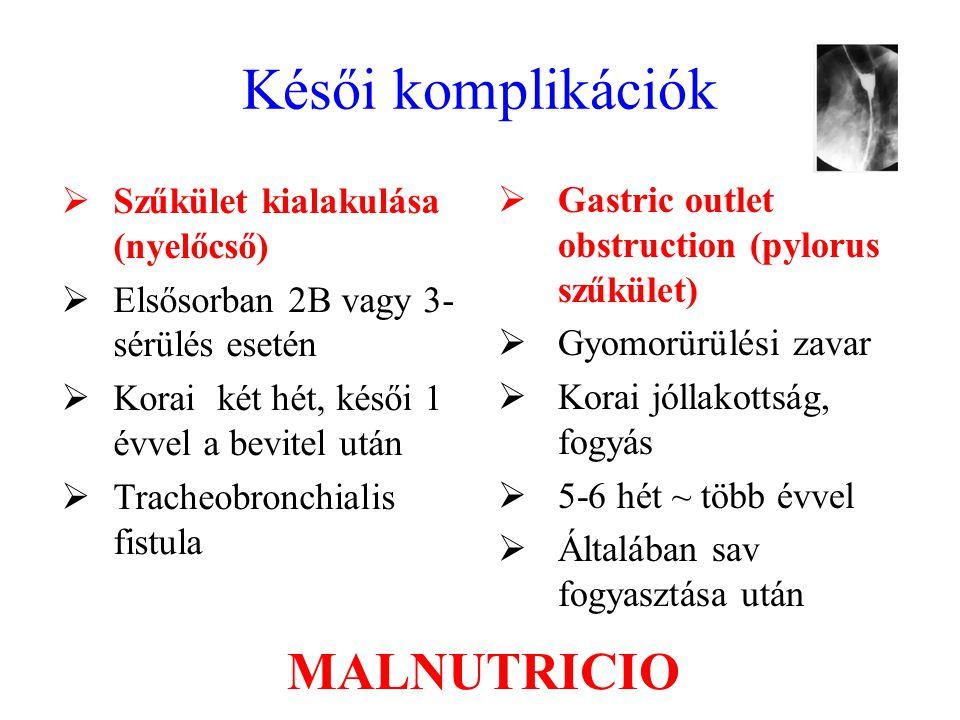 Késői komplikációk MALNUTRICIO Szűkület kialakulása (nyelőcső)