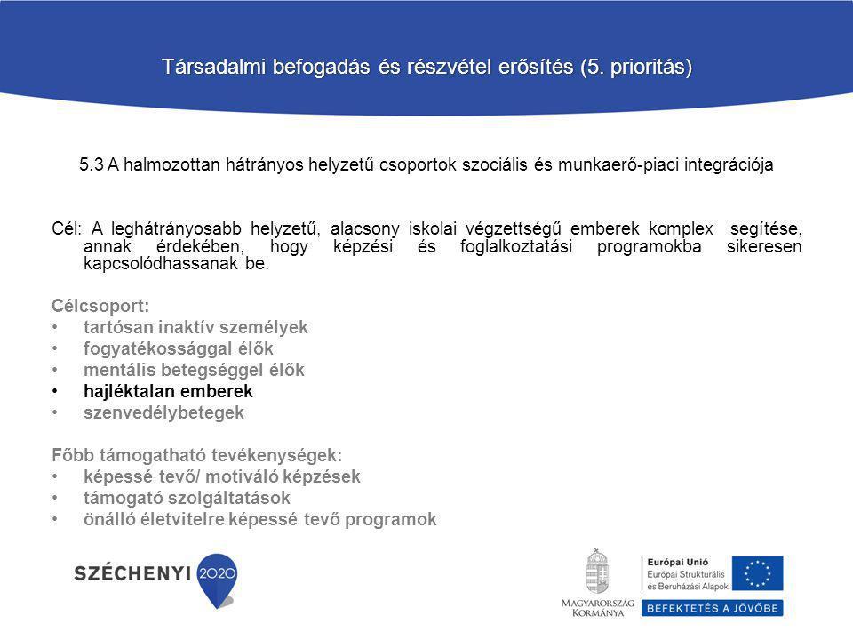 Társadalmi befogadás és részvétel erősítés (5. prioritás)