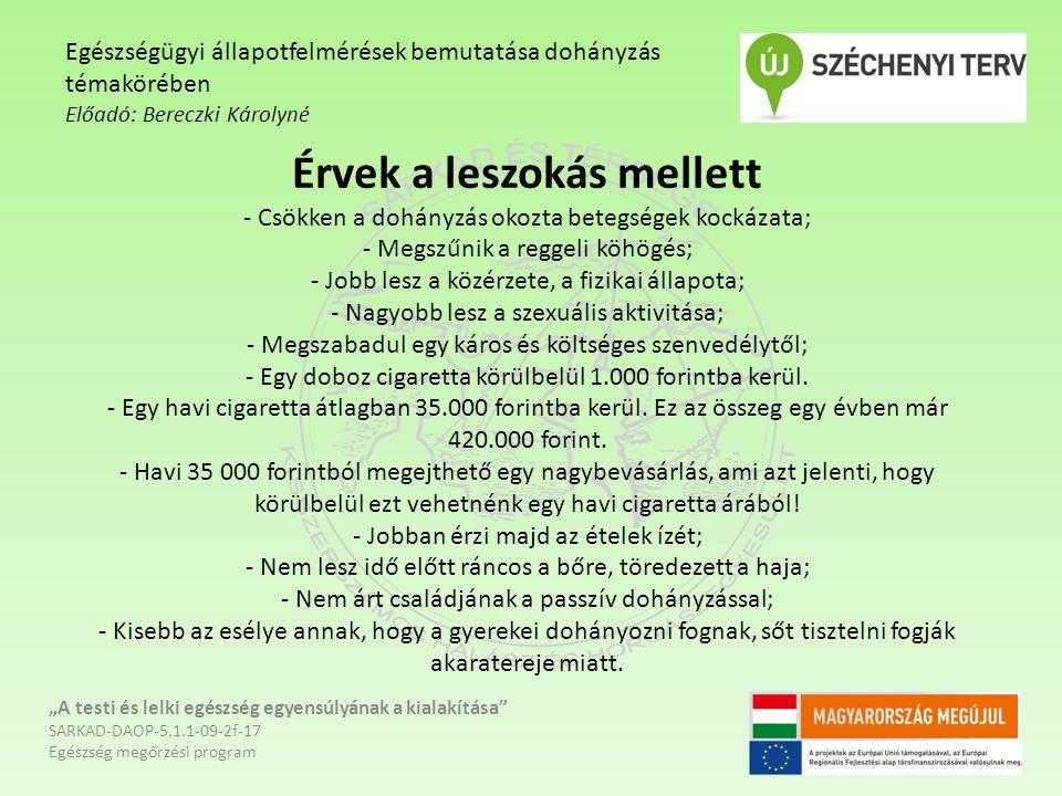 Egészségügyi állapotfelmérések bemutatása dohányzás témakörében