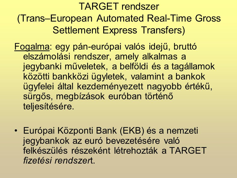 TARGET rendszer (Trans–European Automated Real-Time Gross Settlement Express Transfers)