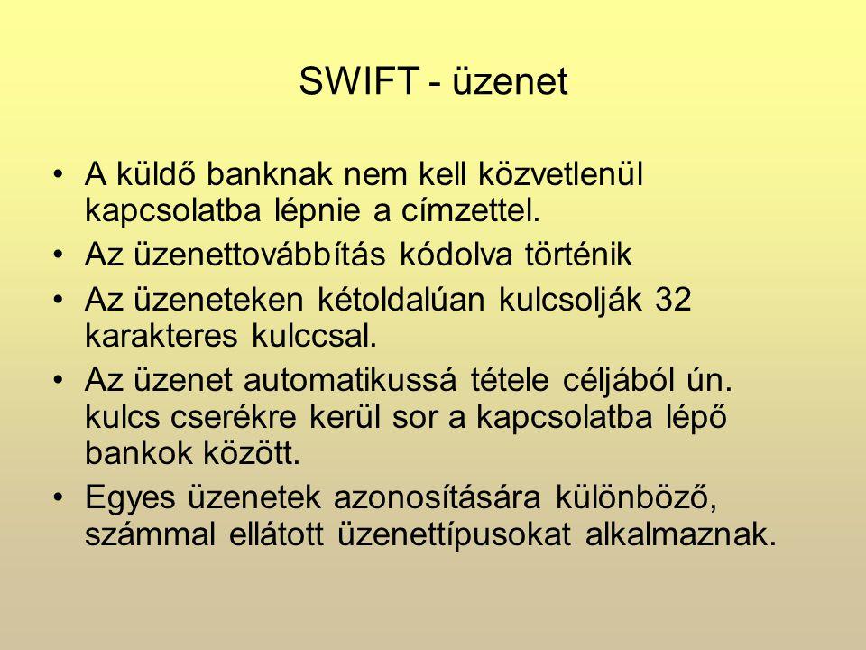 SWIFT - üzenet A küldő banknak nem kell közvetlenül kapcsolatba lépnie a címzettel. Az üzenettovábbítás kódolva történik.