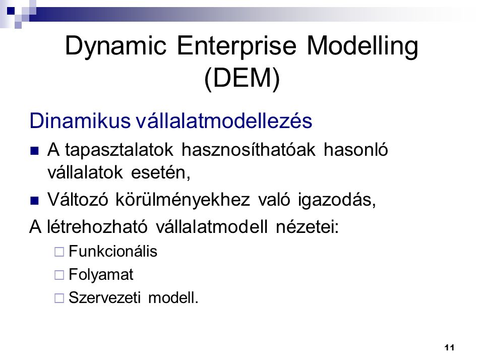 Dynamic Enterprise Modelling (DEM)