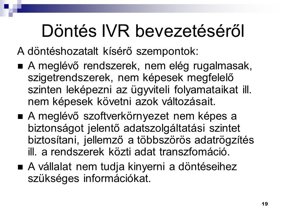 Döntés IVR bevezetéséről