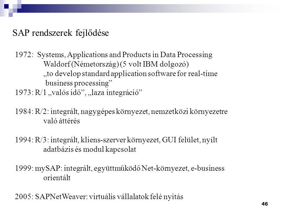 SAP rendszerek fejlődése