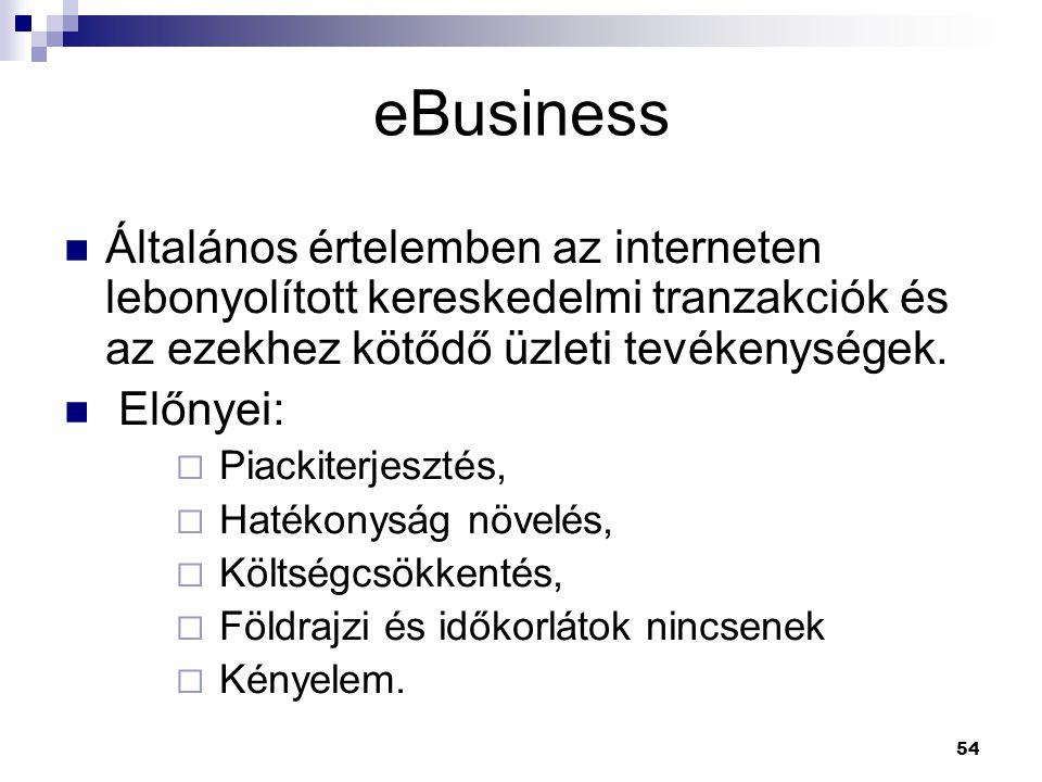 eBusiness Általános értelemben az interneten lebonyolított kereskedelmi tranzakciók és az ezekhez kötődő üzleti tevékenységek.