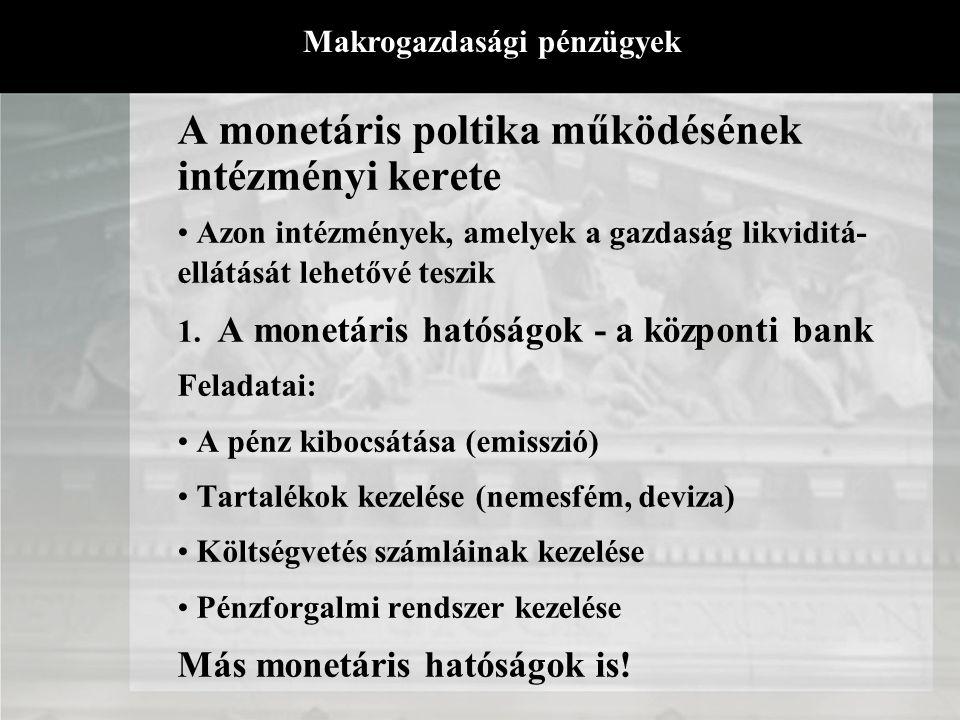 A monetáris poltika működésének intézményi kerete