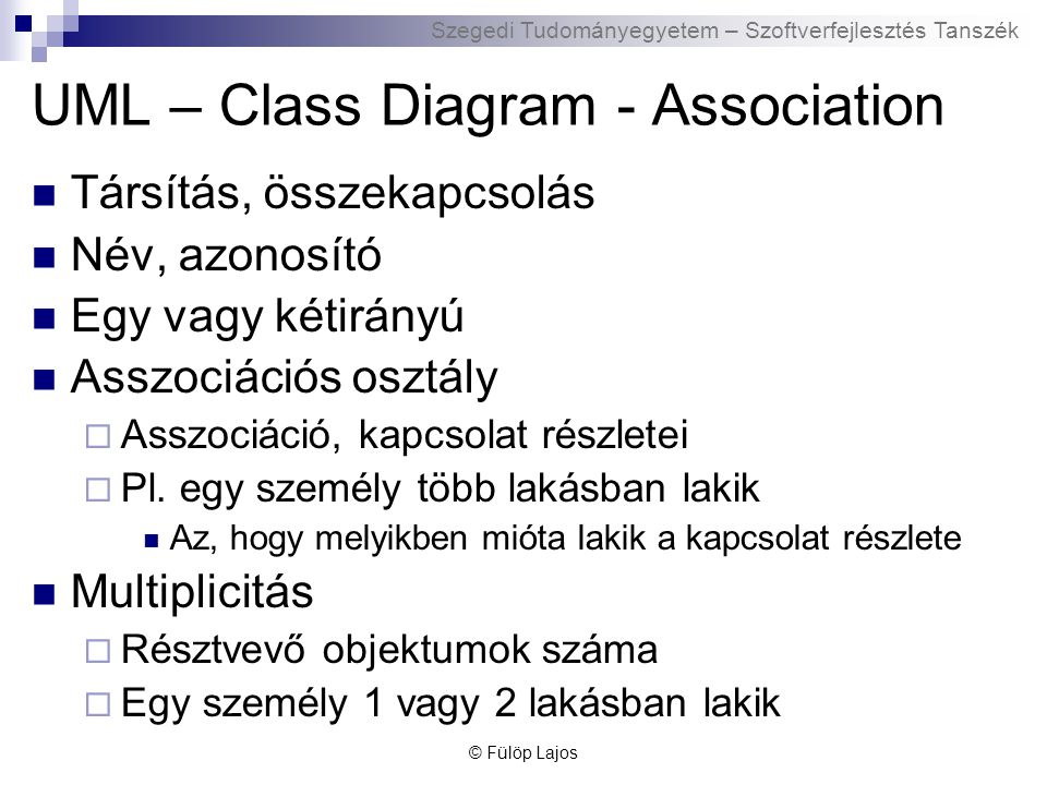 UML – Class Diagram - Association